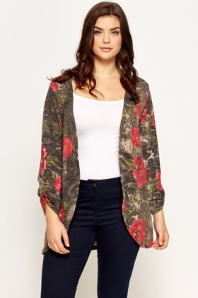 Charcoal Rose Print Tie Up Cardigan