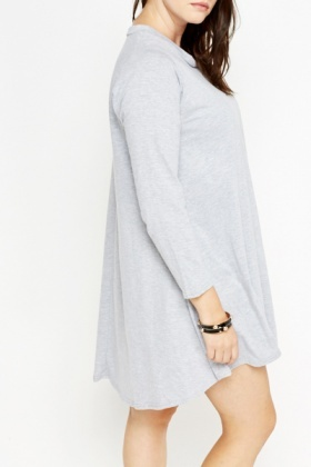 Grey Cotton A-Line Dress