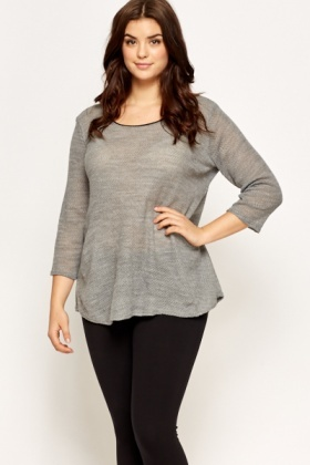 Grey Loose Knit Pullover