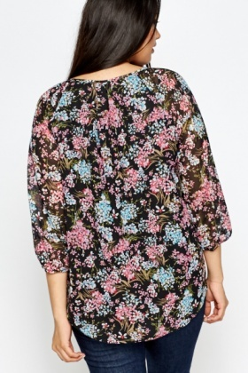 Multi Floral Tie Up Blouse