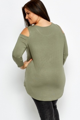 Olive Dipped Hem Cut Out Top