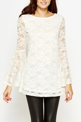 Bell Sleeve Lace Overlay Top