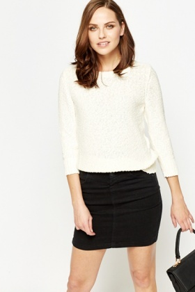 Cut Out Cream Knit Top