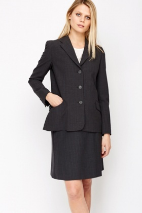 Grey Button Front Blazer