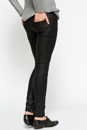 Leather Look Zip Detail Trousers