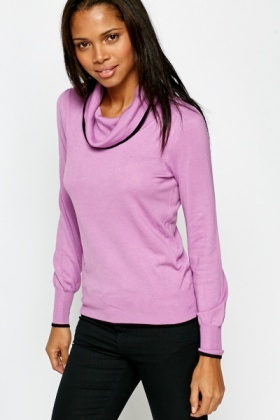 Puff Sleeve Contrast Roll Neck Jumper