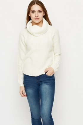 Roll Neck Rib Knit Jumper