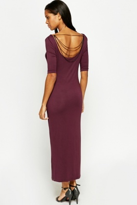 Chain Drop Back Maxi Dress