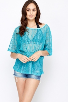 Crochet Batwing Sleeve Beach Cover Up
