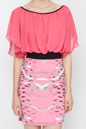 Dark Pink Contrast Printed Blouson Dress