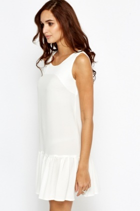 Flare Hem Cream Dress