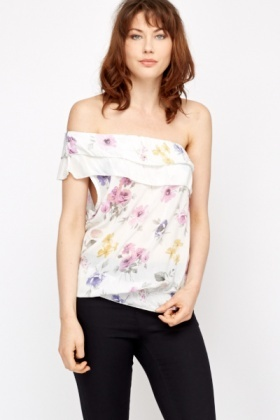 Frill One Shoulder Floral Top