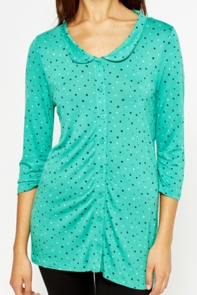 Green Collared Polka Dot Tunic