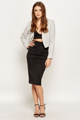Jacquard Black Bodycon Skirt