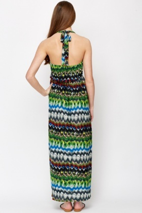 Mix Print Halterneck Maxi Dress