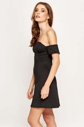 Off Shoulder Scuba Petite A-Line Dress