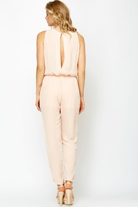 Peach Ruffle Front Jumpsuit
