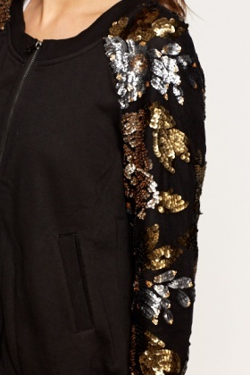 Sequin Sleeves Zip Up Bomber Jacket