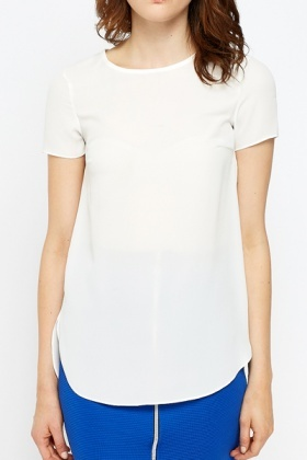 Sheer Dip Hem White Top