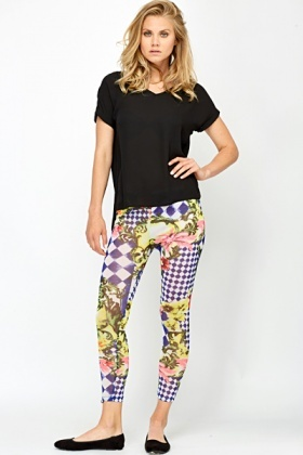 Sheer Mix Print Leggings