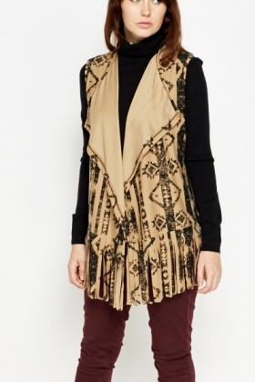 Sleeveless Fringed Aztec Cardigan