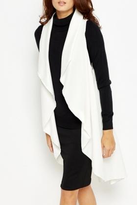 White Sleeveless Waterfall Cardigan - Just £5