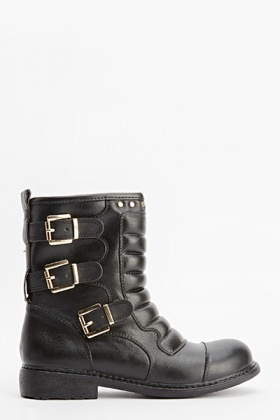 Black Quilted Buckle Ankle Boots