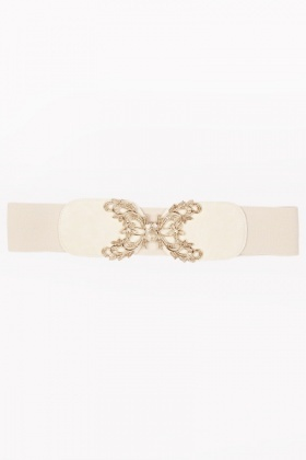 Gold Floral Elastic Belt