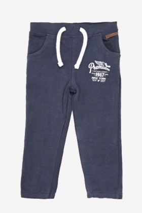 Slogan Side Navy Joggers