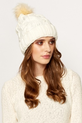 White Bobble Beanie Hat