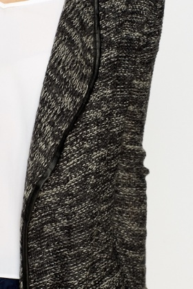 Charcoal Speckled Open Cardigan