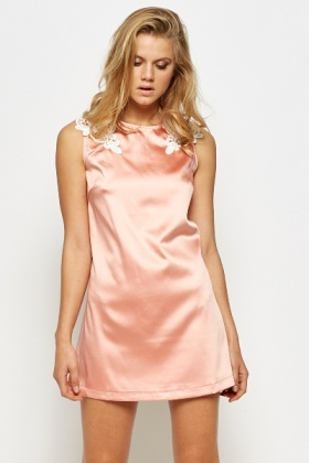Silky Lace Shoulder Shift Dress