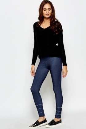 Button Hem Jeggings