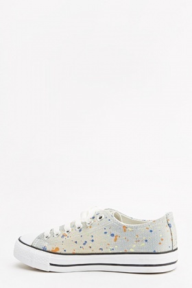 Denim Paint Splash Canvas Trainers