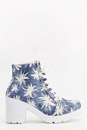 Canvas Palm Tree Heeled Boots