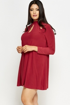 Cut Out Neck Swing Dress