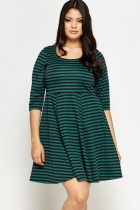 Dark Green Striped Skater Dress
