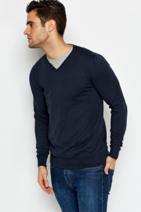 Navy Shirt Insert Jumper