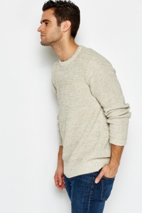 Ribbed Trim Casual Knit Jumper
