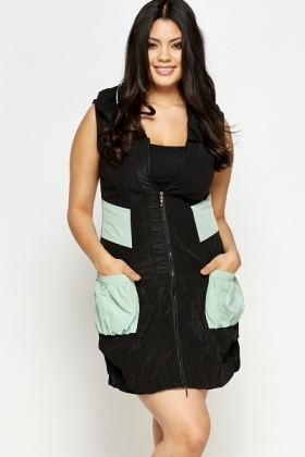 Sleeveless Contrast Pocket Jacket