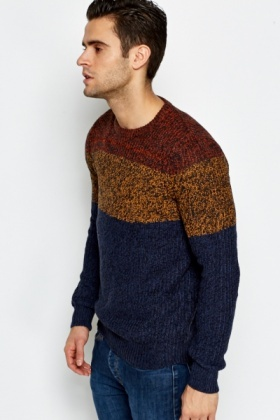 Speckled Contrast Striped Jumper