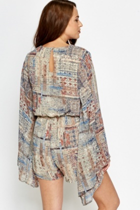 Bell Sleeve Wrap Playsuit