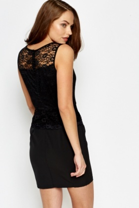 Black Lace Overlay Bodycon Dress