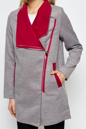 Contrast Asymmetric Fleece Jacket