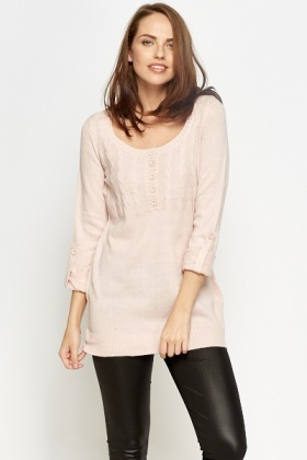 Contrast Plait Knit Panel Jumper