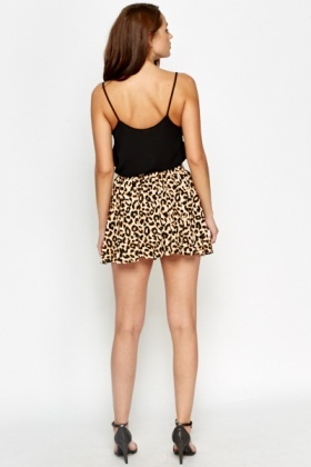 Leopard Print Swing Mini Skirt