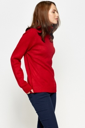 Ribbed Red Roll Neck Jumper