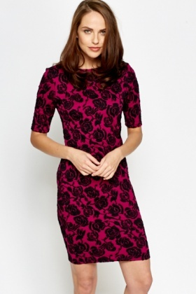 Rose Black Jacquard Bodycon Dress