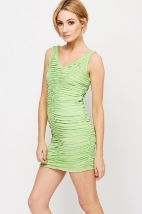 Ruched Neon Bodycon Dress