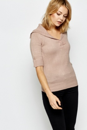 Cropped Sleeve Knit Sweater